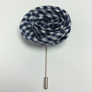 Blue and White Checkered Flower Lapel Pin