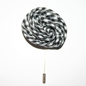 Black Gingham Flower Lapel Pin