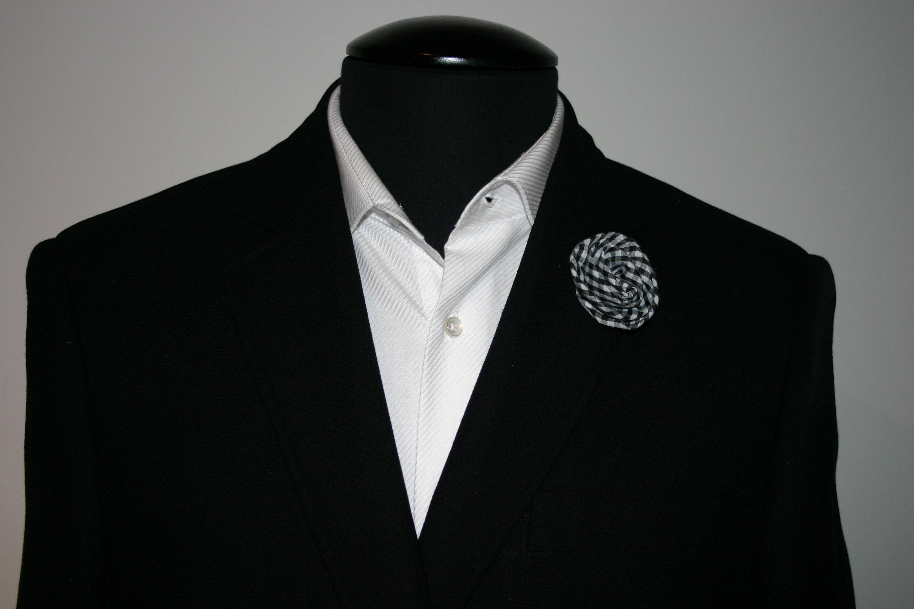 Brando black gingham flower lapel pins black plaid flower lapel pin dhlflorist Choice Image