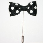 Black Polka Dot Bow Lapel Pin