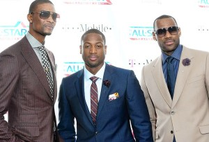 Chris Bosh, Dwyane Wade and LeBron James Flower Lapel Pins
